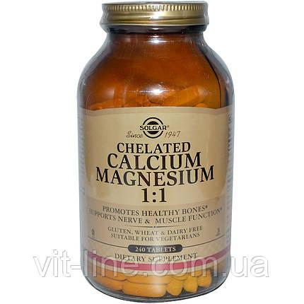 Solgar, Хелатный кальций и магний в соотношении 1:1, 240 таблеток, фото 2
