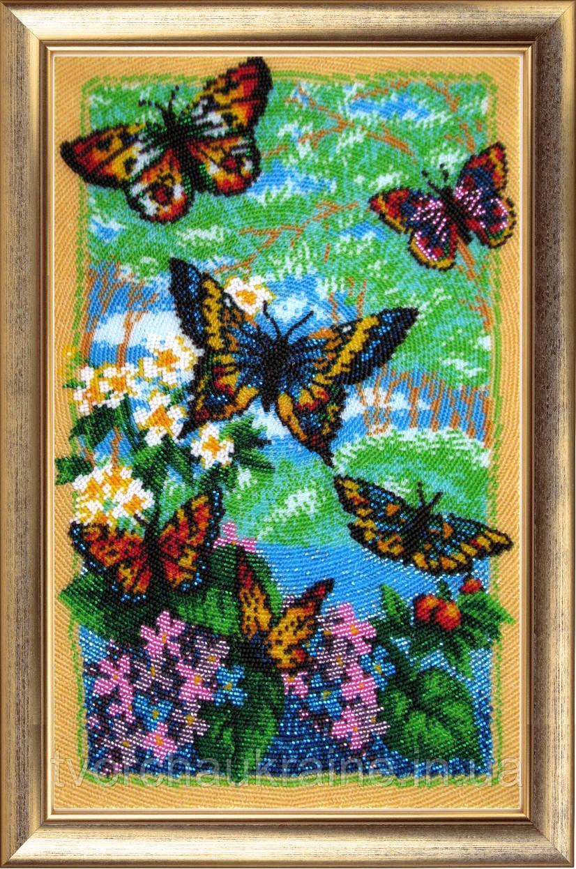 """Набор для вышивки бисером """"Порхающие бабочки"""""""
