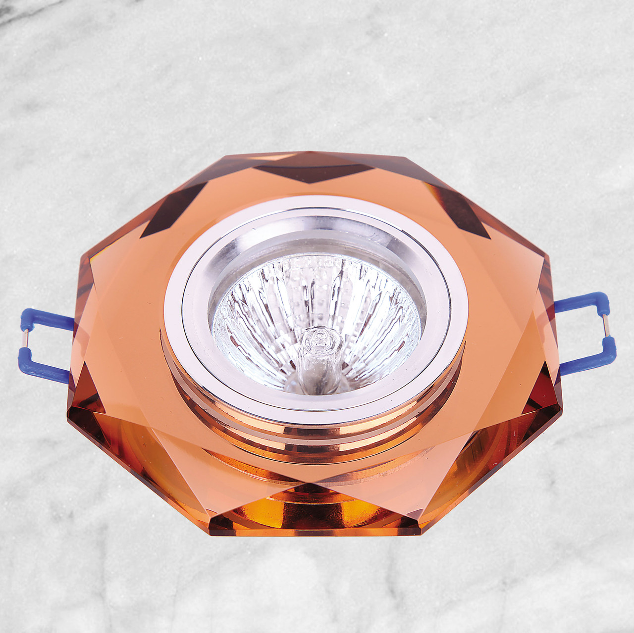Точечный стеклянный врезной светильник (05-049 коричневый)