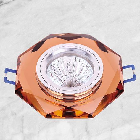 Точечный стеклянный врезной светильник (05-049 коричневый), фото 2