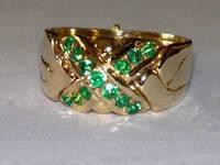 Золотое кольцо головоломка с Изумрудом от WickerRing