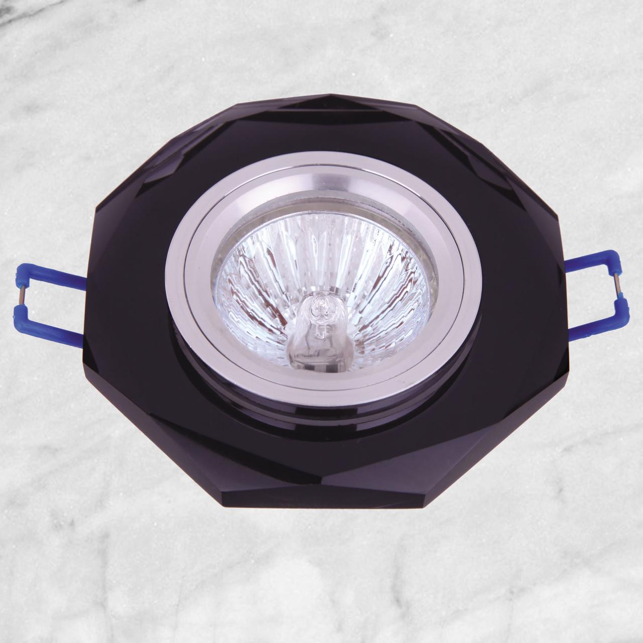 Точечный стеклянный врезной светильник (05-078 черный)