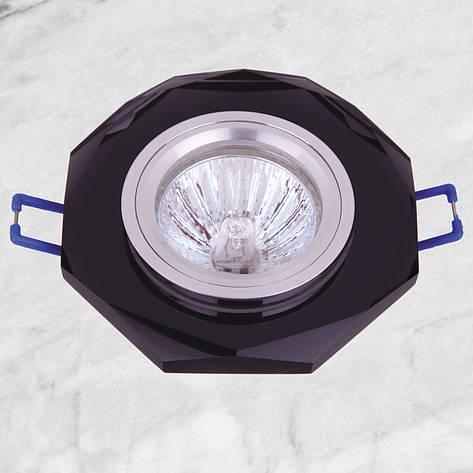 Точечный стеклянный врезной светильник (05-078 черный), фото 2