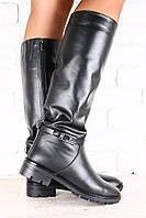 Женские кожаные сапоги на не высоком каблуке