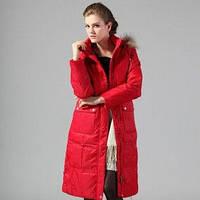 Куртка зимняя с натуральным мехом енота и накладными карманами