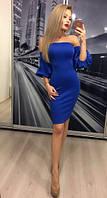 Элегантное платье со спущенными плечами ft-312 электрик