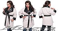 Стильное женское Батальное кашемировое пальто декор экокожа чёрная