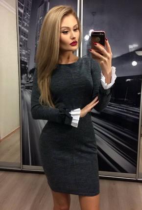 Короткое приталенное платье из ангоры ft-315 графитовое, фото 2