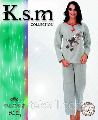 К.S.M пижама женская с начесом на байке серая разные рисунки, фото 2
