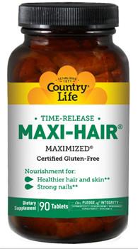 Витамины для волос, кожи и ногтей Maxi-Hair® Country Life 90 таблеток, стекло.