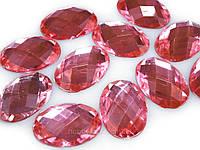 Страза-кабошон овальный розовый 17 х 25мм