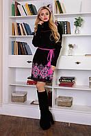Женское вязаное платье с вышивкой, р.42-48