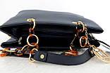 Стильная женская сумка. Эко-кожа Италия Синяя, фото 4