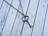 Серебристый ключик на цепочке, подвеска ключ с сердечком для влюбленных, кулон ключик от сердца