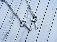 Серебристые ключики на цепочках, парные кулоны для влюбленных, подвески для двоих, для пары