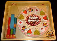 Торт на липучках деревянная игрушка, деревянный торт разрезной на липучках со свечами аналог  Melissa & Doug