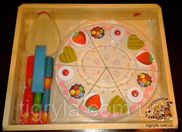 Торт на липучках деревянная игрушка, деревянный торт разрезной на липучках со свечами аналог  Melissa & Doug, фото 2
