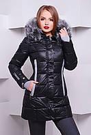 Куртка пуховик женский теплый черный размер 46,50,52