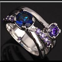 Синий сапфир и аметист. Серебряное кольцо