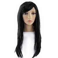 Парик Черный длинные волосы с челкой.