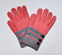 Перчатки зимние (дев) Пуговки, коралл 16-18 см. (6-9 лет)