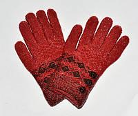 Перчатки зимние (дев) Пуговки, бордо 16-18 см. (6-9 лет)