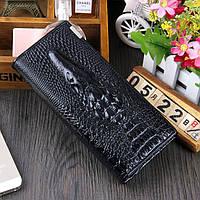 Женский кошелек Crocodile с 3D тиснением кожаный большой черный