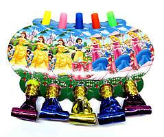 """Язычок гудок карнавальный """"Принцессы Дисней"""". В упак: 5 шт."""