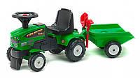 Трактор каталка с прицепом лопатка+грабли Falk Mustang зеленый