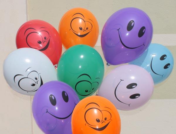 """Воздушные шары """"Смайлы цветные"""" 12""""(30 см) пастель ассорти В упак:100шт ТМ """"Gemar"""""""