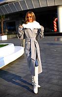 Стильное женское пальто из кашемира с искусственным мехом