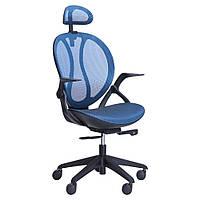 Кресло Lotus, с подголовником кресло, PL черный, да, Синий