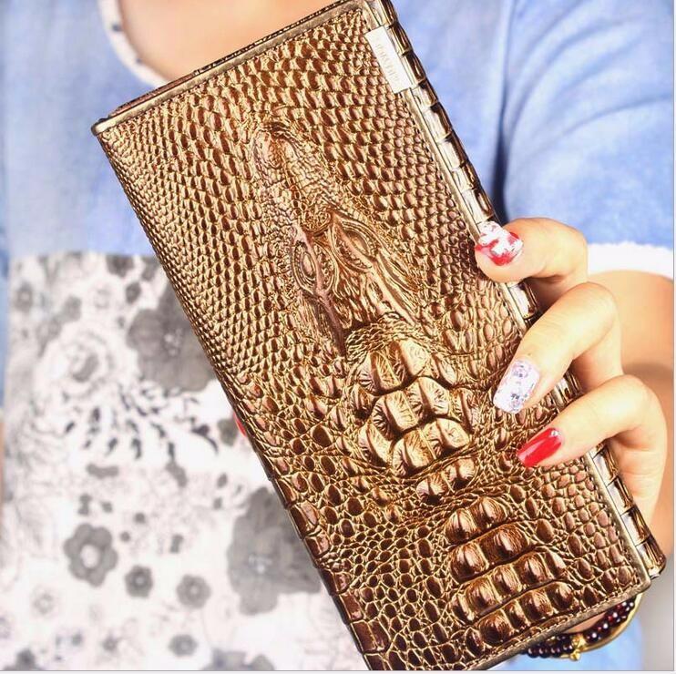 c7cf8806d161 ... Женский кошелек Crocodile с 3D тиснением кожаный большой золотой, ...