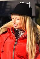 Женская фетровая шляпа с белыми ушками