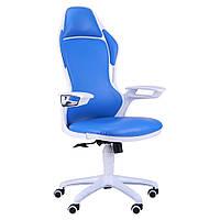 Геймерское кресло Racer к/з синий, каркас белый