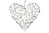 Новогодний подвесной декор Сердце из раттана, белый с блестками