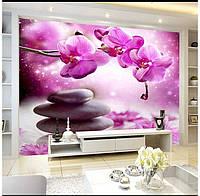 "Фотообои ""Пурпурные орхидеи на камнях"""