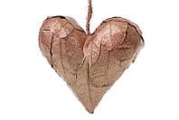 Новогодний подвесной декор Сердце из натуральных листиков бронза с блестками