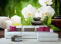 "Фотообои ""Орхидеи и свеча"", текстура песок, штукатурка"