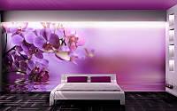"""Фотообои """"Фиолетовые орхидеи"""", текстура песок, штукатурка"""