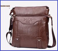Мужская сумка Polo Vicuna кожаная через плечо, 3 цвета