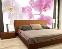 """Фотообои """"Малиновые и белые орхидеи"""", текстура песок, штукатурка"""