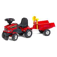 Трактор каталка с прицепом лопатка+грабли Falk Mustang красный