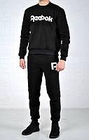 Костюм  спортивный мужской утепленный  Reebok  размер S M L XL   без молнии черный рибок