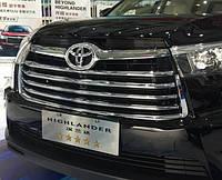Toyota Highlander XU50 2014 накладки хром на решетку радиатора ABS