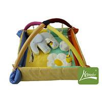 Коврик манеж Слоник с мячиком с дугами и подвесными игрушками цв. Голубой
