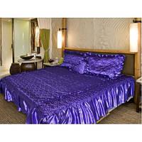 Покрывало 180 х 210 с подушками + подушка сердце (атлас) фиолетовый