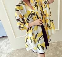 Белый шарф- палантин с лимонами из натурального шелка  Dolce & Gabbana  EV254