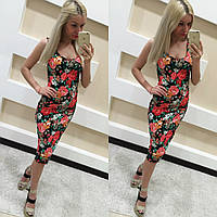 Модное миди платье - Майка!! принт