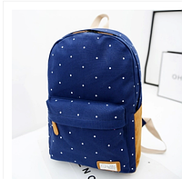 Стильный городской рюкзак синий в горошек